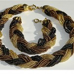 vintage 1960s braided bronze seed bead necklace and bracelet