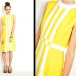 vintage 1960s color block linen shift dress