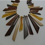 vintage 1970s lucite and wood necklace