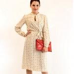 vintage 1970s silk polka dot secretary dress