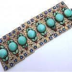 vintage art deco nouveau enamel rhinestone czech glass filigree bracelet
