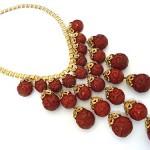 vintage carved cinnabar bead necklace
