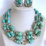 vintage ciner ceramic crystal bead necklace