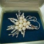 vintage japanese sterling akoya pearl brooch