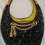 vintage koret wicker purse with gold tassel