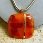 vintage lanvin faux tortoise shell necklace