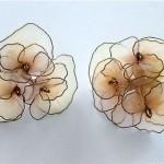 vintage midcentury silk organza floral earrings