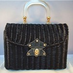 vintage midcentury wicker basket purse with lucite handle