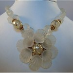 vintage miriam haskell frosted glass flower necklace