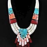 vintage santa domingo pueblo turquoise and coral necklace
