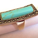 vintage silver turquoise marcasite ring