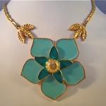 vintage ysl enamel flower necklace