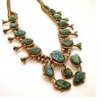 vintage navajo sterling turquoise squash blossom necklace