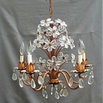 antique hand made crystal flower chandlelier