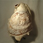 antique italian carved conch shell cameo lamp