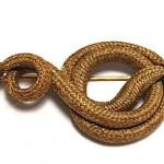 antique mid-1800s braided hair serpent brooch