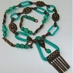 art deco nouveau czech glass chain link necklace