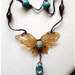 french art nouveau carved horn butterfly necklace