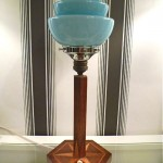 vintage 1920s art deco inlaid glass shade table lamp