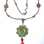 vintage 1920s sterling jade and coral necklace