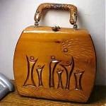 vintage 1950s japanese wooden carved handbag