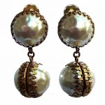 vintage 1950s miriam haskell baroque mabe pearl and brass earrings