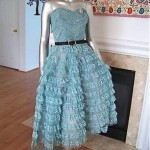 vintage 1950s strapless tulle party dress