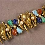 vintage 1960s art jeweled african mask bracelet