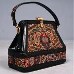 vintage 1960s gladstone tapestry handbag