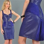 vintage 1980s north beach leather fishtail leather dress