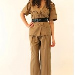 vintage 1980s ysl rive gauche safari pants and blouse