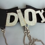 vintage 1990s christian dior leather logo belt with detachable chains