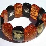 vintage amber and reverse carved lucite bracelet