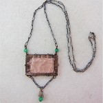 vintage art deco sterling carved glass lavaliere necklace