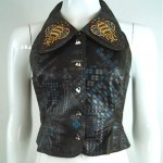 vintage bill gibb stenciled embroidered bumble bee leather vest