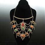 vintage brass agate carnelian necklace