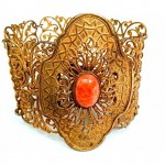 vintage brass and coral stone cuff bracelet