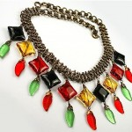 vintage czech poured glass necklace