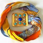 vintage delillo silk jeweled belt