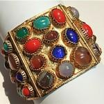 vintage egyptian revival glass jeweled bracelet
