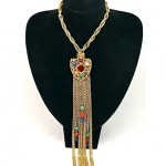 vintage etruscan revival fleur de lis gemstone necklace