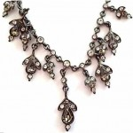 vintage givenchy rhinestone dangle drop necklace