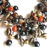 vintage glass cluster bead necklace