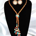 vintage hobe mesh lariat and earrings