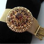vintage hobe topaz rhinestone mesh bracelet