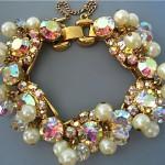 vintage juliana crystal and pearl bracelet