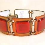 vintage kay denning enamel copper bracelet