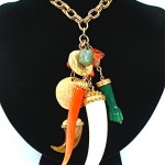 vintage kenneth jay lane chunky charm necklace