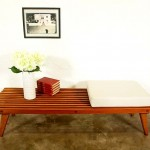 vintage midcentury slat bench coffee table