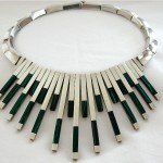 vintage modernist taxco malachite matchstick necklace